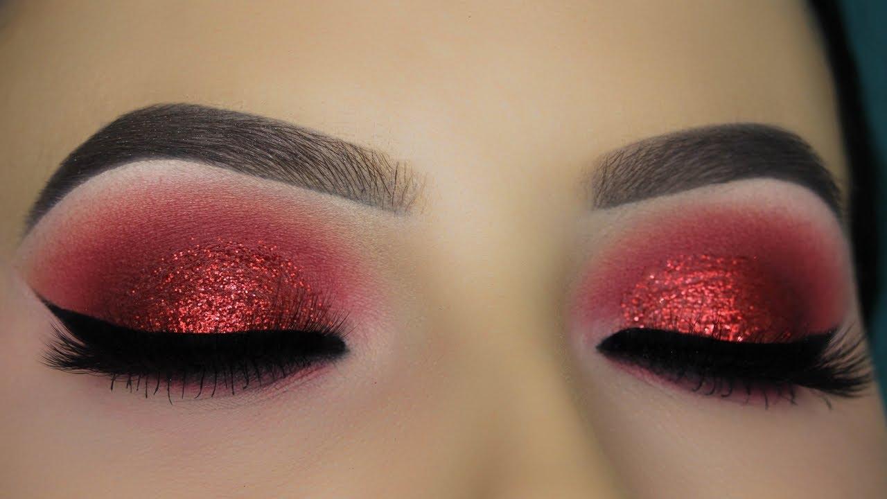 Red Glitter Smokey Eye Tutorial Youtube