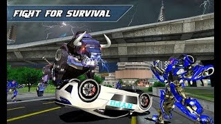 Angry Robot Cop Bullfighting Transform Bike Games (By Kick Time Studios) Gameplay HD