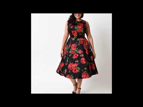 Черно-красное платье для полных