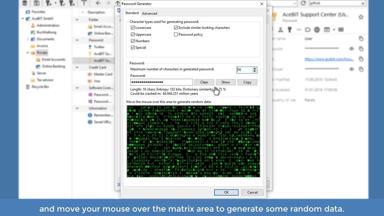 Using the password generator