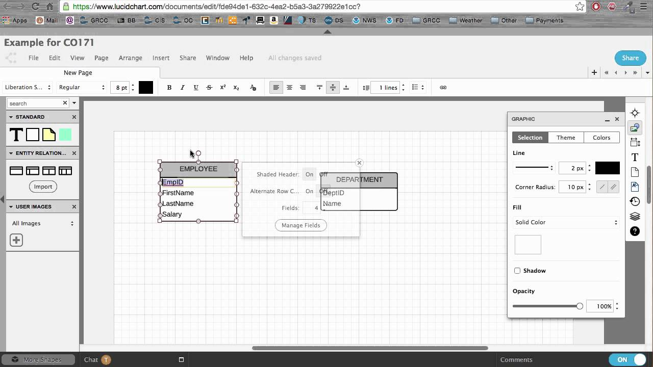 Creating an ERD with LucidChart
