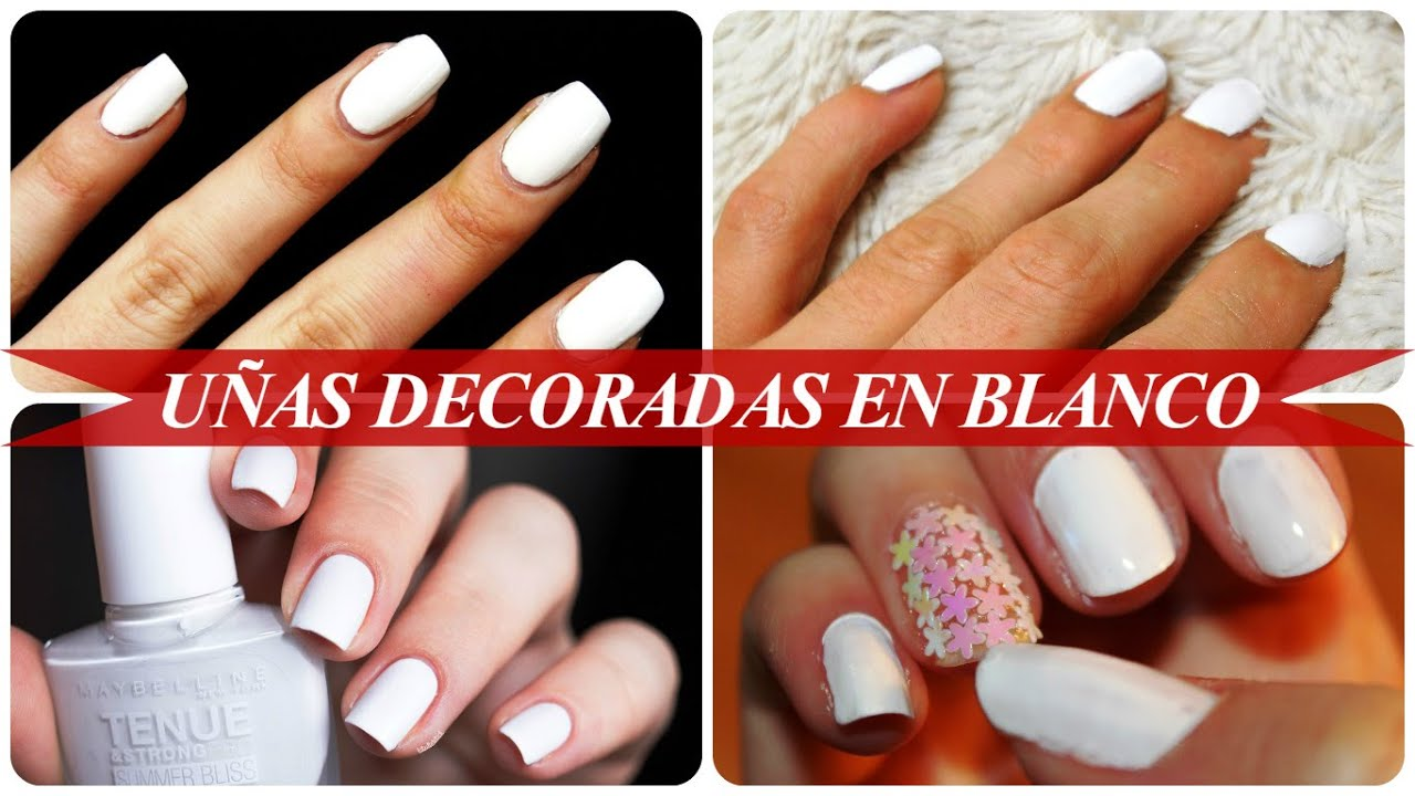 Uñas Decoradas En Blanco Youtube