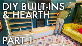 DIY ELECTRIC FIREPLACE HEARTH + BUILT-INS : Adventuring Family of 11