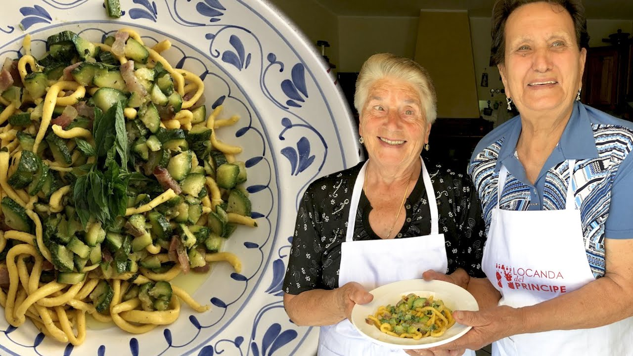 Pasta Grannies enjoy summery zucchini with hand rolled spaghetti called gnocchi lunghi