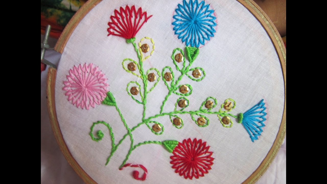 Hand Embroidery Designs Shafali Flower Stitches Stitch And