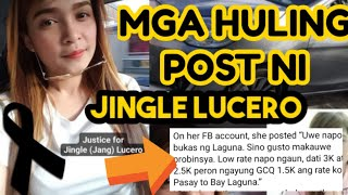 MGA HULING MENSAHE NI  JINGLE JANG LUCERO SA SOCIAL MEDIA
