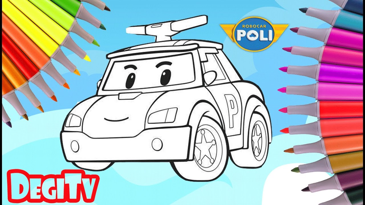 Robocar Poli Coloring Pages Coloring book cartoon YouTube