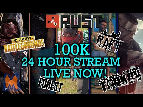 100K SUBSCRIBER SPECIAL 24 HOUR STREAM! RUST, ESCAPE FROM TARKOV, THE FOREST, RAFT AND PUBG! thumbnail