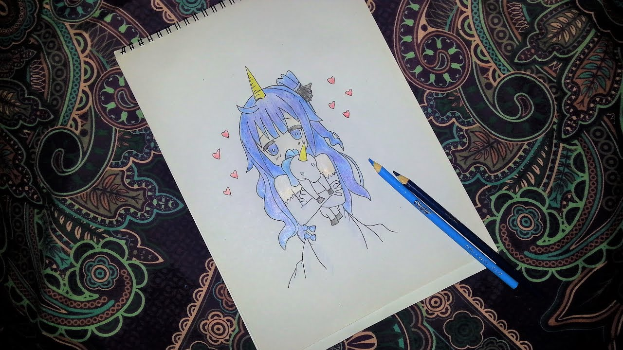 How To Draw Anime Girl With A Unicorn Horn And A Unicorn Animal