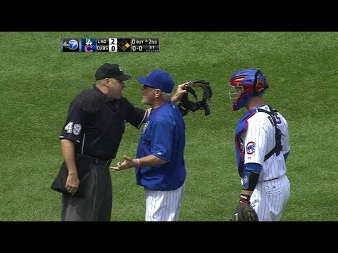 LAD@CHC: Tempers flare between Lester, home-plate ump