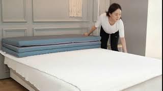 더베딩샵 3단 접이식 매트리스 손님용 토퍼 수면매트 요…