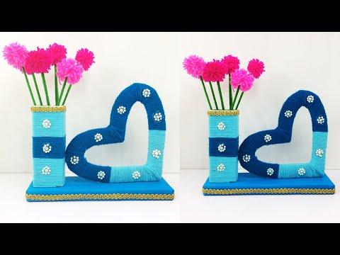 DIY Heart Showpiece Craft   Beautiful Tabletop   Wool Thread Design   Amazing Craft ideas   Home Dec