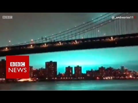 New York Skyline Turns Blue - BBC News