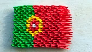 3D origami flag of Portugal (Portuguese flag) Tutorial