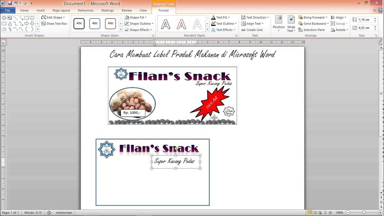 cara membuat label produk makanan youtube