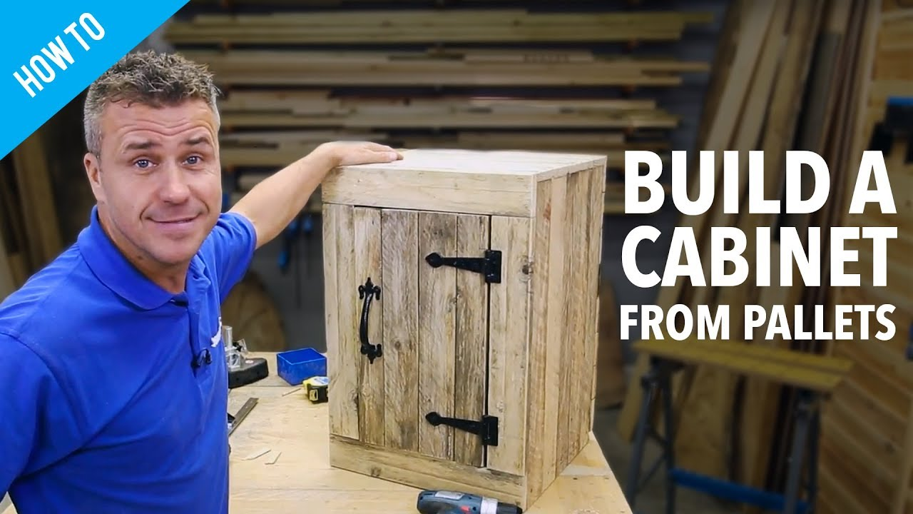 How to make a pallet cabinet with a door  YouTube