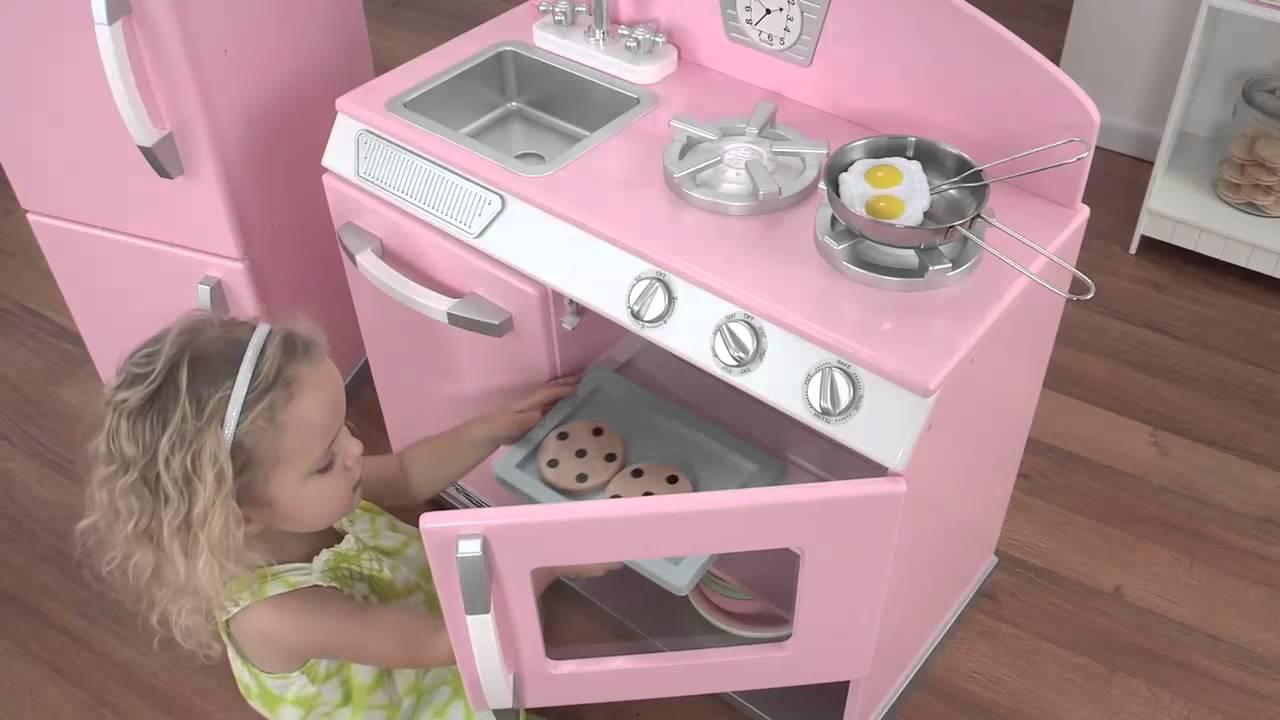 Girls Fun Pink Wooden Play Kitchen Toys | KidKraft   YouTube