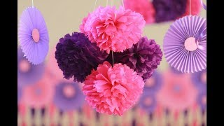 How to make-Tissue Paper Flowers Easy   Decorations for Baby Shower   Party decorations   Craftastic