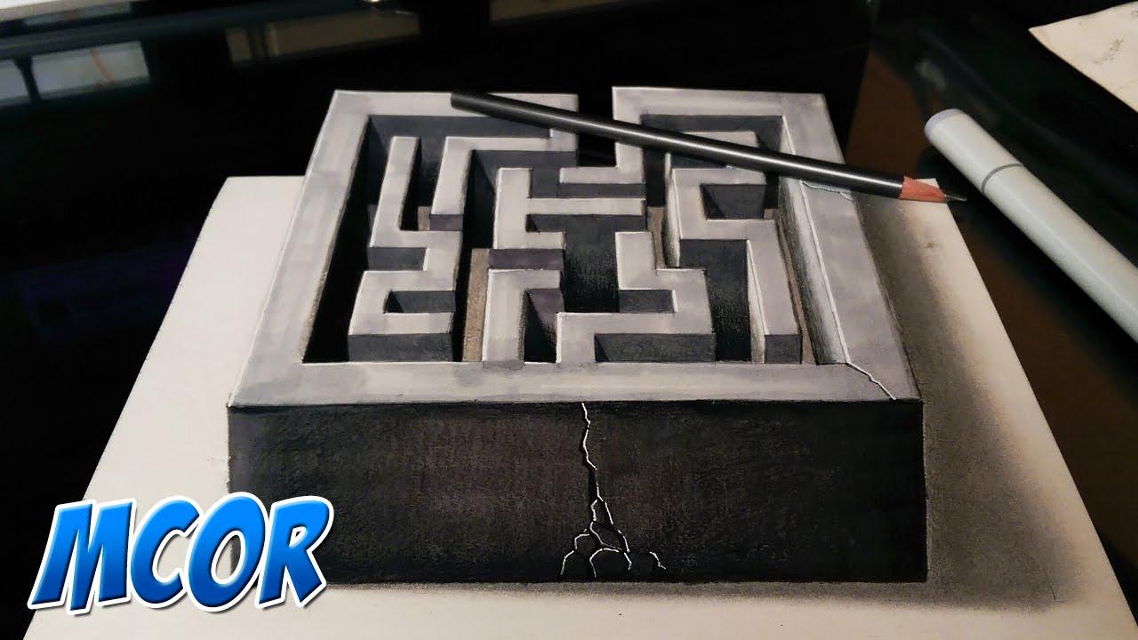Dibujando un laberinto en 3d ilusion optica youtube for Dibujar un mueble en 3d