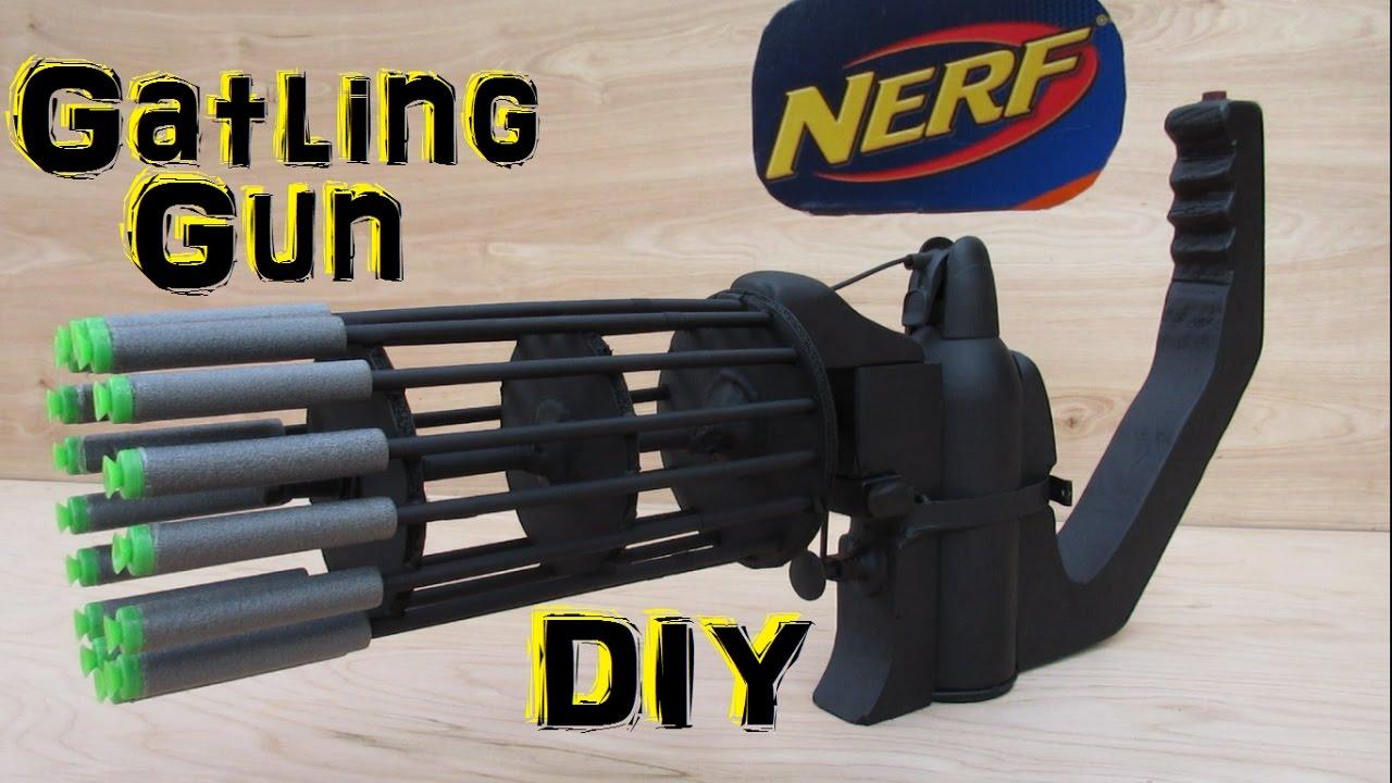 Homemade Nerf Gatling Gun Fully Automatic Diy Youtube