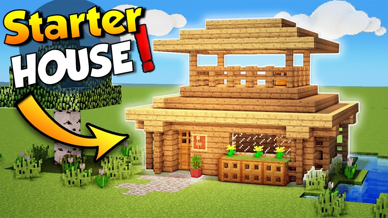 Minecraft easy starter house tutorial how to build a for Houses to build