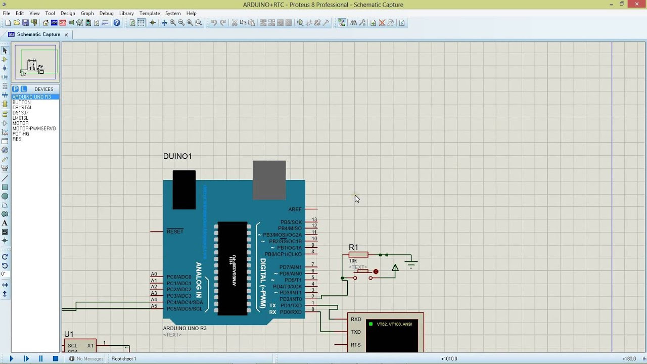 Arduino uno with real time clock rtc ds in proteus