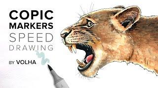 Copic markers speed drawing #3 / Рисую маркерами Copic голову льва
