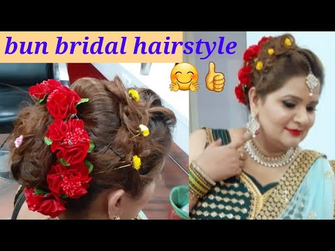 Bun bridal hairstyle// easy and different hairstyle four weddings// step by step thumbnail