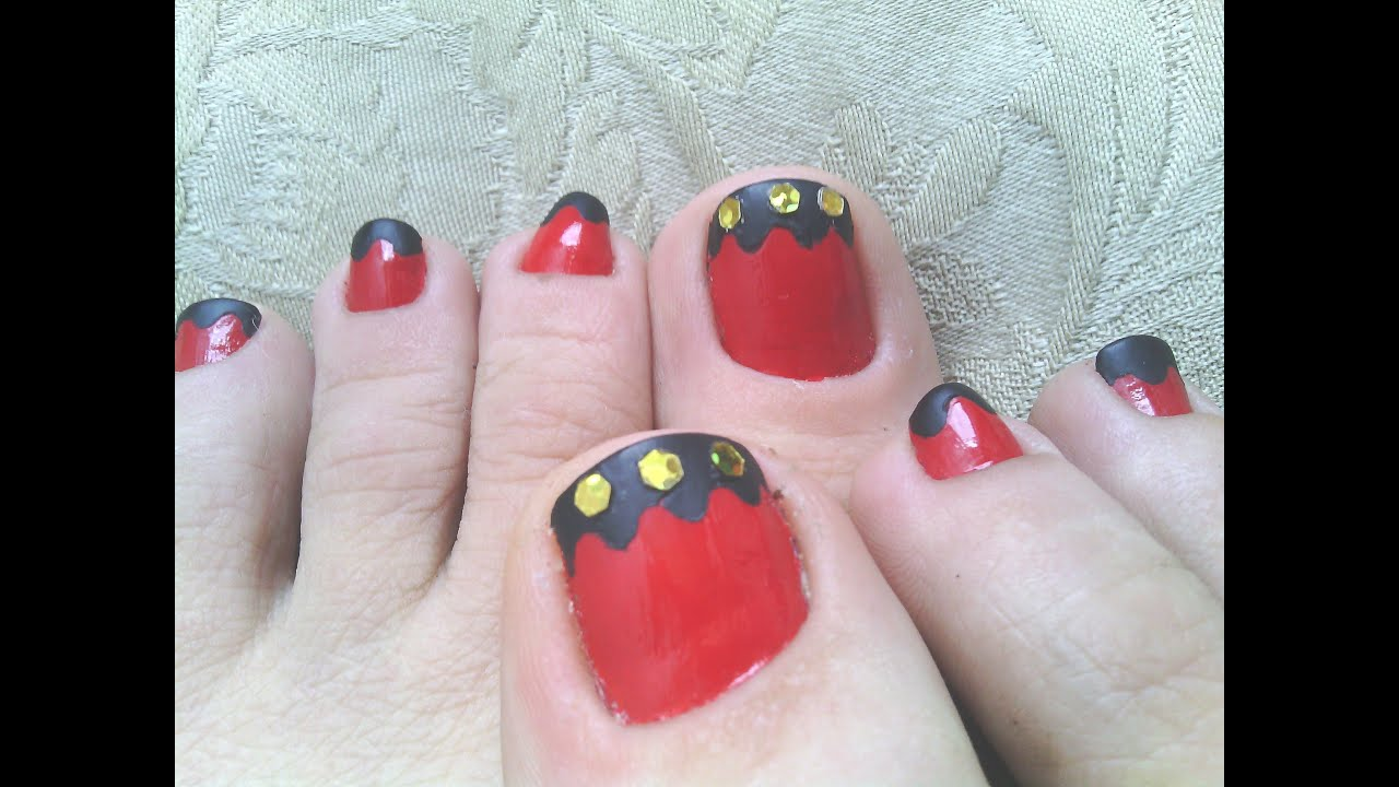 Diy Red Black Gold Toe Nail Art Youtube