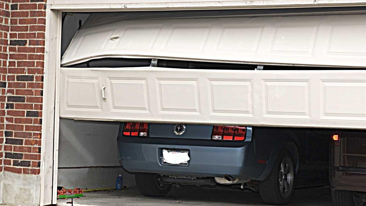 Garage Door Track Hit By Car 630 271 9343 Youtube