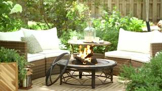 Albena Wicker Sofa Sectional Conversation Set With Brighton Fire Pit Table - Product Review Video