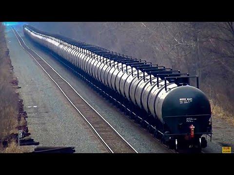 Long CSX Oil Tanker Train Overhead View