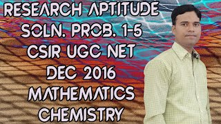 160. UGC-CSIR NET |General Aptitude prob 1- 5 | Mathematical,Chemical Science Dec 2016 @ 1/4