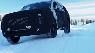 Hyundai Palisade snow mode performance test site in Arjeplog, Sweden
