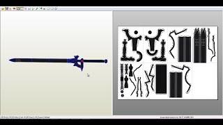 Descargar plantilla de la espada ELUCIDATOR para papercraft.(Tamaño Real)(Life Size)
