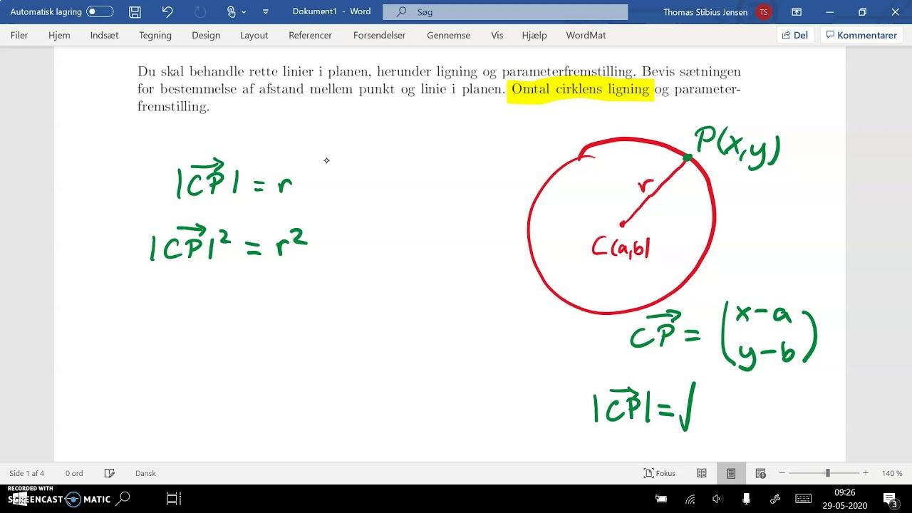 spg7 del4a cirklens ligning