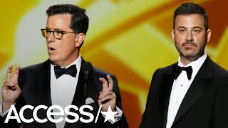 jimmy kimmel and stephen colbert roast 2019 emmys over lack of host it sucks