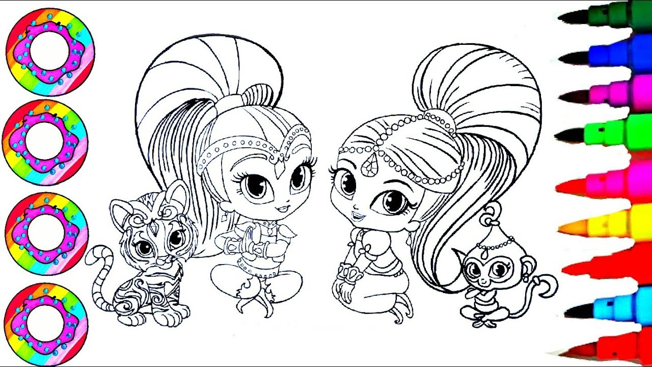 Coloring Drawings Shimmer and Shine with their Rainbow Sparkle Pets ...