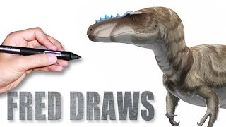Alioramus for Wikipedia | Dinosaur Timelapse Paint | Fred Draws