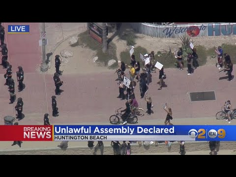 Hundreds Of George Floyd Protesters Gather In Huntington Beach Where Unlawful Assembly Is Declared