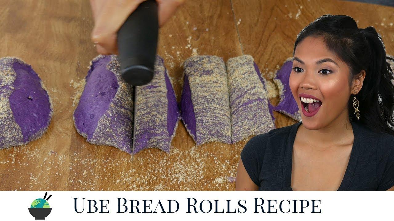 Pandesal Recipe | How To Make Ube Bread | Filipino Purple Yam Bread Rolls Recipe