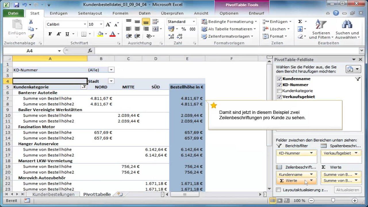 Eine Pivottabelle erweitern in Excel 2010 - YouTube
