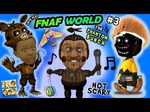 ♫ FNAF WORLD ♫ 3: THE PHANTOM BUNCH! w FGTEEV Duddy & Chase More Talk, Less Gameplay