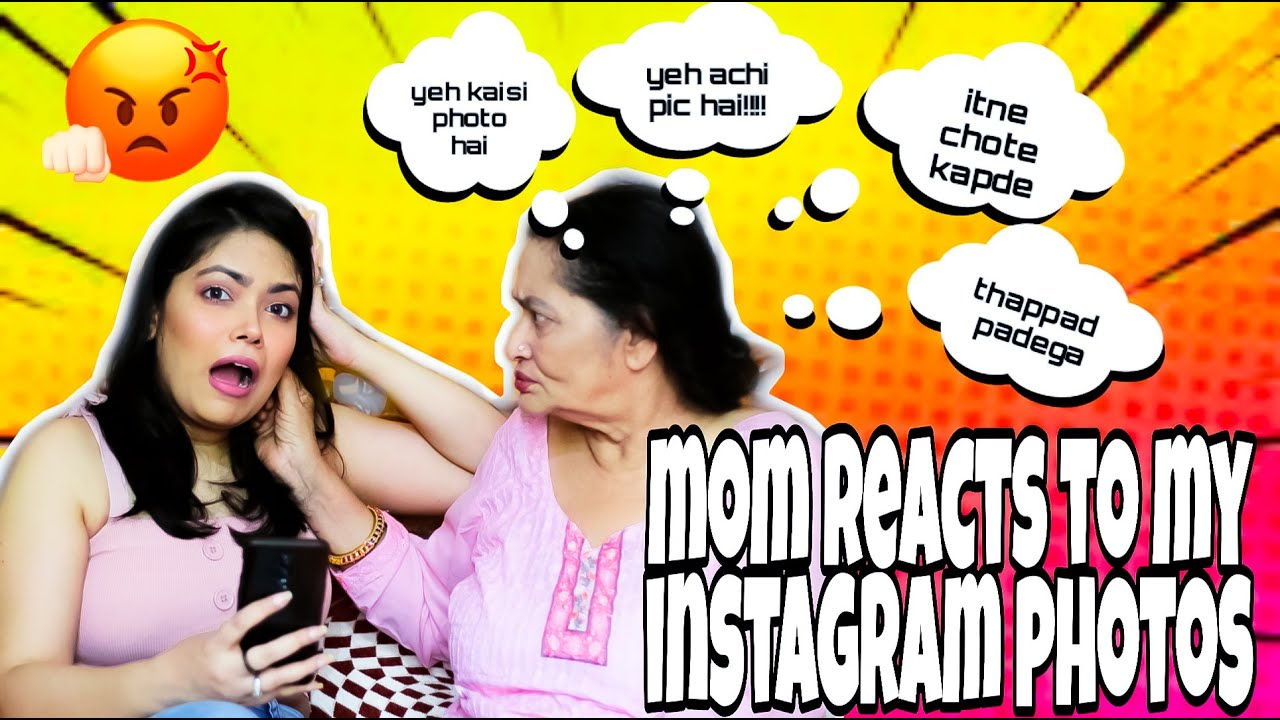 My DESI MOM Reacts To My INSTAGRAM | First Ever Video With My MOM | Anku Sharma