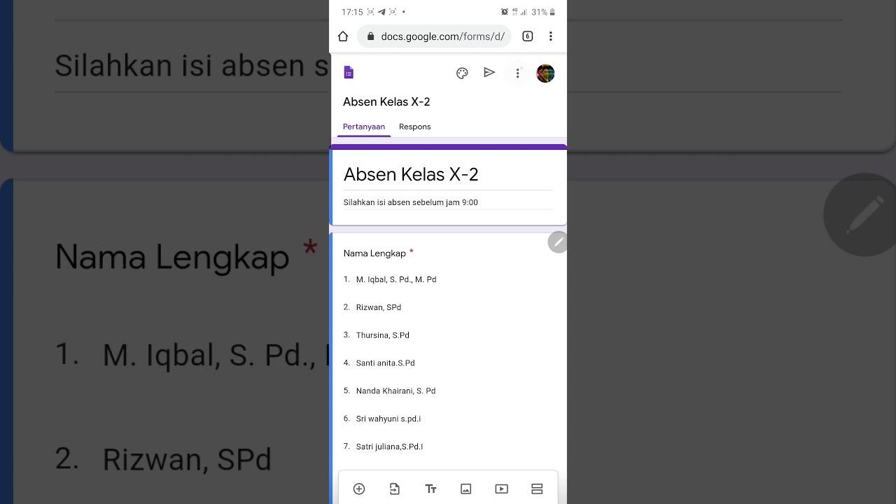 Membuat Absensi Siswa Online Dengan Google Form Menggunakan Smartphone Guru Baru Indonesia