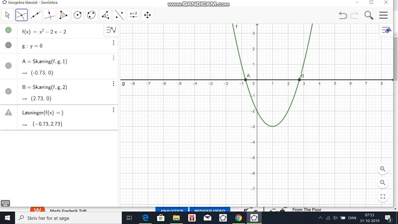 Bestemmelse af nulpunkter i Geogebra