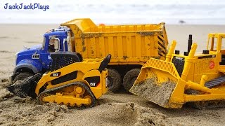 Construction Vehicles for Kids Digging and Playing at the Beach: Dump Truck, Excavator, Roller