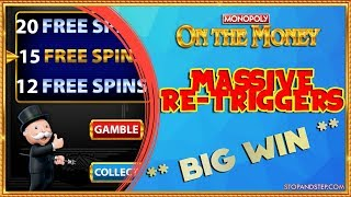 CRAZY RE-TRIGGERS Monopoly On the Money with £50 MEGA SPINS!!
