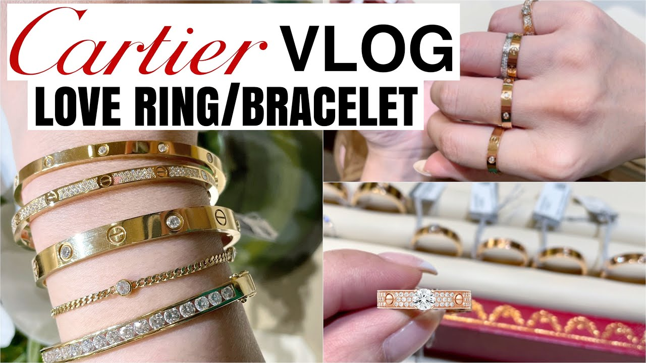CARTIER VLOG: TRYING ON THE ENTIRE LOVE BRACELET & RING COLLECTION *WATCH THIS FIRST* Thick vs Thin