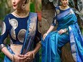 Brocade blouse with saree - brocade blouse pattern - brocade blouse designs for silk sarees